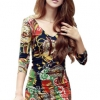Deep V-neck Long Sleeve Flower Print Mini Dresses (Multicolor)
