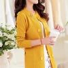 เสื้อคลุมแฟชั่น พร้อมส่ง สีเหลือง ตัวยาวคลุมสะโพก แขนยาว ดีเทลกระดุมหลอกสุดเท่ห์ แต่งคาดเอวด้านหลังเก๋ๆ ใส่กับชุดทำงานหรือชุดเที่ยวก็เก๋ๆค่ะ