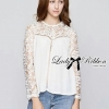 Lady Lana Cotton and Lace Blouse in White