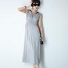 MAXI DRESS เดรสยาว ผ้าคอตตอน แขนกุด ใส่เที่ยว ใส่ทำงาน สีเทา เท่ห์ๆ ASIA STREET FASHION
