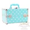 กระเป๋าใส่เครื่องสำอาง กล่องเก็บเครื่องสำอาง ลายจุด ( สีฟ้า )BEAUTY SECRET D Professional Cosmetic Case