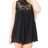 Linemart Women Leopard Print Lace Trim Party Mini Women is Dresses Online (Black)