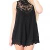 Linemart Women Leopard Print Lace Trim Party Mini Women is Dresses Online (Black)