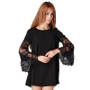 Hang-Qiao Loose Chiffon Lace Shop Fashion Dresses Online (Black)