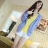 Tucky&Jiang เสื้อคลุม แขนยาว มีฮูด สีม่วงอมฟ้า