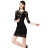 Allwin Women Lady Fashion Charm Beautiful Lace Sexy Slim CocktailBlack Dresses For Women Trendy Fashion Style Online Black