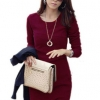 Long Sleeve Causal Slim Tunic Cocktail Dress (Wine Red)