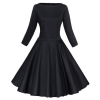 Mysika Vintage Retro 3/4 Sleeve Rockabilly Large Swing Red Ladies Dressesfor Women Black (Intl)
