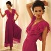 fashion jumpsuit ชุดเอี๊ยมกางเกงขายาว เซ็กซี่ คอวี สีม่วง สไตล์ยุโรป ผ้าชีฟอง สามารถใส่ออกงานได้