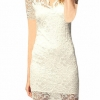Women Lace V-neck Short Sleeve Hollow Out Elegant Dresses For Women Trendy Fashion Style Online White