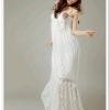 maxi dress ชุดเดรสยาวผ้าลูกไม้ สายเดี่ย; สม๊อกอก สีขาว ใส่ไปงานแต่งงาน น่ารัก ใส่ออกงาน สวยมาก Asia Street Fashion