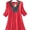 Siebel O-neck Sleeveless Slim Waist A-line Embroidered Mini DressS-XL Red (Intl)