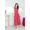 Fashion on art แมกซี่เดรสคอปกแฟชั่นผ้าชีฟองลายริ้ว สีแดง