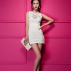 dress ชุดเดรสแฟชั่นแขนกุด ผ้าลูกไม้ สีขาว น่ารัก ใส่ออกงาน ใงานแต่งงาน สวยมาก Asia Street Fashion