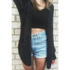 Women Casual Knitted Cardigan Black Long Sleeve Loose Coat Sweater