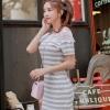 dress ชุดเดรสลายทาง เทา ขาว ผ้าคอตตอน แต่งลูกไม้คอเสื้อ ใส่เที่ยว-ใส่ทำงาน Asia Street Fashion