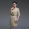 DRESS ชุดเดรสทํางาน สีเบจ สีนู๊ด แขนห้าส่วน แฟชั่นสวยๆ พร้อมเข็มขัด ASIA STREET FASHION