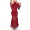 maxi dress เดรสยาว ผ้าลูกไม้ สีแดง แขนยาว ใส่ออกงาน งานแต่งงาน สวยมากๆ ค่ะ