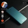 เคส Vivo X6 เคสฝาพับ + แผ่นเหล็กป้องกันตัวเครื่อง (บางพิเศษ) สีฟ้าอมเขียว