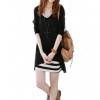 Fashionstory ชุดเซ็ตคู่ เสื้อกล้ามตัวยาว + เสื้อแขนยาวผ้ายืดผสมชีฟอง - สีดำ