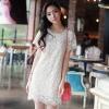 dress ชุดเดรสแฟชั่นเกาหลี ผ้าลูกไม้ ใส่ทํางาน งานแต่ง สี Apricot ออกงาน สวยๆ Asia Street Fashion
