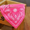 ปลอกคอ ลายผ้าพันคอสามเหลี่ยม สีชมพู สุนัขพันธุ์เล็กและแมว
