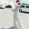 maxi dress - ชุดเดรสยาวผ้าชีฟอง ใสเที่ยว ใส่ทำงาน แขนกุด เปิดหลัง สีเขียว น่ารัก ใส่ออกงานได้ Asia Street Fashion
