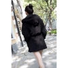 Cyber New Women's Hoodie Down Warm Outerwear Cardigan JacketCoat(Black)