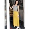 maxi dress ชุดเดรสยาวแฟชั่นแขนกุด ใส่เที่ยว ใส่ทำงาน ผ้าคอตตอน มีสายผูกเย็บติดในตัว สีเทา เหลือง เท่ห์ๆ Asia Street Fashion