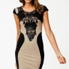 Toprank Lady Bandage Dresses Women Elegant Embroidery Bodycon Women is Fashion DressesesLace Patchwork Dress ( Black )