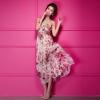 maxi dress ชุดเดรสยาวเกาะอก งานแต่งงาน ผ้าชีฟอง พื้นสีเบจลายดอกไม้สีชมพูเขียว ใส่ออกงาน น่ารัก สวยๆ Asia Street Fashion