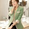 เสื้อสูทแฟชั่น พร้อมส่ง แขนยาวแต่งแขนพับ เข้ารูป สีเขียว คอวีลึก แต่งขลิบสีขาวเก๋ๆ งานสวยดีไซน์เก๋มากๆ