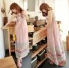 maxi dress ชุดเดรสยาวสายเดี่ยว แฟชั่นใส่เที่ยว น่ารัก ผ้า Cotton สีชมพู ลายจุด ดอกไม้ สม็อกอกด้านหลัง สวยมาก Asia Street Fashion