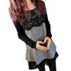 Sexy Women Lace Chiffon Long Sleeve Mini Dresses Winter KnitwearJumper Pullover