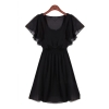 Short Sleeve Pleated Mini Shop Fashion Dresses Online (Black)