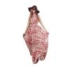 Fashionstory Maxi Ladies Dresses เดรสดอกไม้โบฮีเมี่ยน แมกซี่เดรสตัวยาวผ้าชีฟอง สวยหรู(สีแดง)