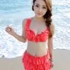 ชุดว่ายน้ำทูพีช สีแดง ยกทรงแต่งระบาย ดีเทลกระโปรงระบายเป็นชั้นๆ สีสันสดใส น่ารักมากๆ