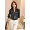 LALANG Hot Sell Korean Style Shirt Women Striped Tops V-neck BlouseBlack