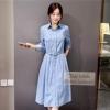 long Sleeve Demin buttoned Front Long Demin Dress