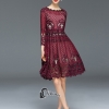 Cliona Made' Red Wine Lace Luxury Dress - Mini Dress ฉลุลูกไม้