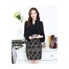 Ladies Floral Lace Patchwork Chiffon Ladies Dresses Black (EXPORT)