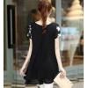 HengSong Short Sleeves Women's Clothing Embroidery Chiffon KoreaVersion Ladies Dresses Shirt Black