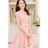 2015 Summer New style Women's Lady Slim-fit Medium style LaceChiffon Sleeveless Long Dresses Onlinees (Pink)