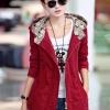 เสื้อกันหนาว พร้อมส่ง สีแดง ตัวยาวคลุมสะโพก ดีเทลกระเป๋าเก๋ แบบซิบรูดเก๋ มีฮูทเท่ห์สุดๆ
