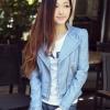 เสื้อแจ็คเก็ต เสื้อหนังแฟชั่น พร้อมส่ง สีฟ้า หนังด้าน มาดเซอร์ คอจีน ดีเทลด้วยปกโฉบเฉี่ยว สุดเท่ห์