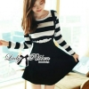 Lady Ribbon's Made Lady Poppy Long-Sleeve Striped Overall Dress