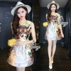 Sevy Butterfly Embroidered Sleeveless Retro Mini Dress