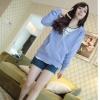 M fashion เสื้อแขนยาว ติดหมวก(สีฟ้า) รุ่น 555