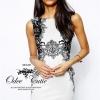 Black&White lace print dress
