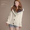 fashion เสื้อกันหนาว ไหมพรม แฟชั่น มีฮู้ด สีขาว พอดีตัว กระดุมหน้า น่ารักๆ